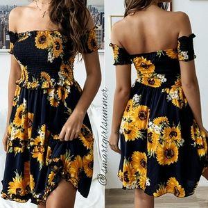 🆕⭐Boho Sunflower off the shoulder dress
